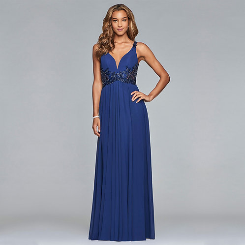 [RENT]Long chiffon dress with beaded detail on side waist and back in Navy