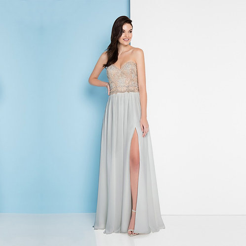 [RENT] Romantic Strapless Embroidered Flowy Prom Dress