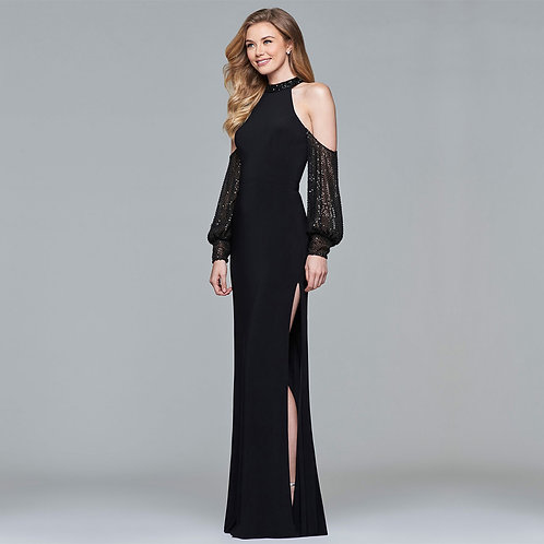[RENT] Long jersey halter dress with cold-shoulder beaded sleeves
