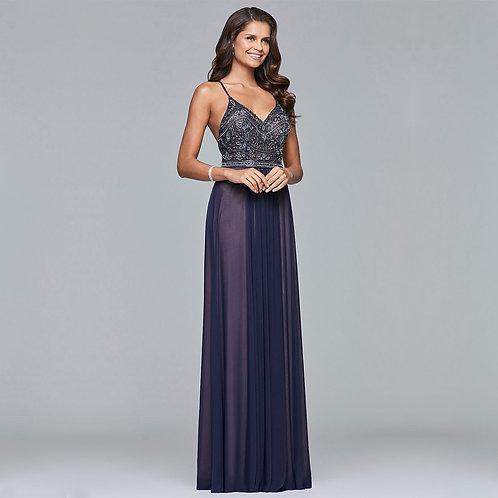 [RENT] Long mesh dress with beaded bodice in Navy Nude