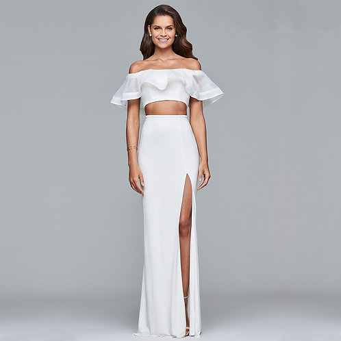 [RENT] Two piece long jersey and organza off-shoulder dress (White)