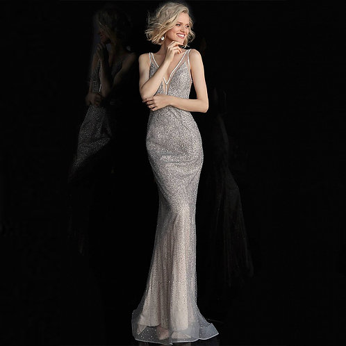 [RENT} Silver Nude Fitted V Neck Sleeveless Prom Dress