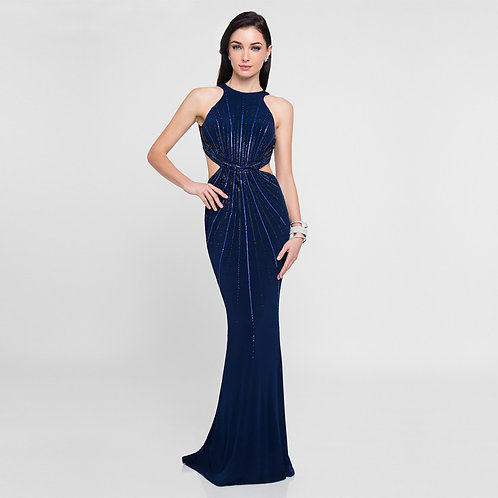 [RENT] Navy Embellished Cut Out Long Prom Dress