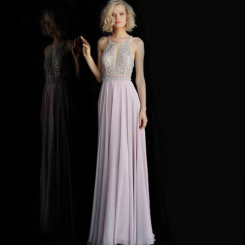 [RENT] Dusty Lilac Beaded Bodice Criss Cross Back Prom