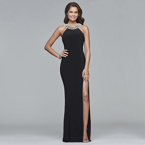 [RENT] Long jersey dress with beaded neckline