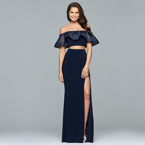 [RENT] Two piece long jersey and organza off-shoulder dress with organza ruffle