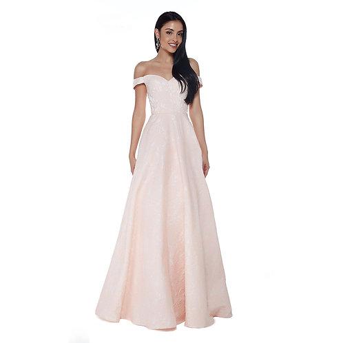 [RENT] Feminine off the shoulder floral jacquard print dress