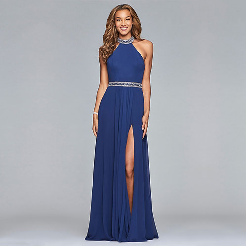 [RENT] Long chiffon halter dress with beaded waist and neck in Indigo