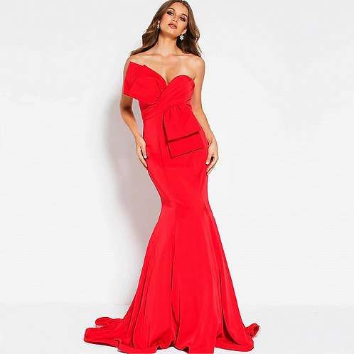 [RENT] Red Strapless Bow Bodice Mermaid Evening Dress