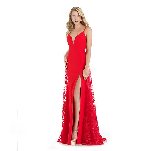 [RENT] STRETCH CREPE RED PROM DRESS