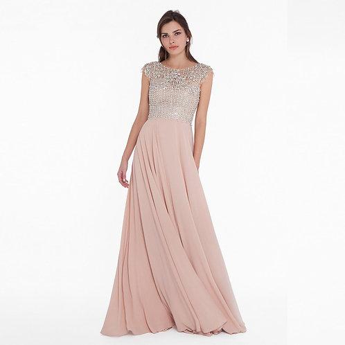 [RENT] Crystal beaded flowing floor-length dress.
