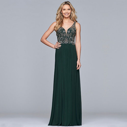 [RENT] Long mesh dress with beaded bodice