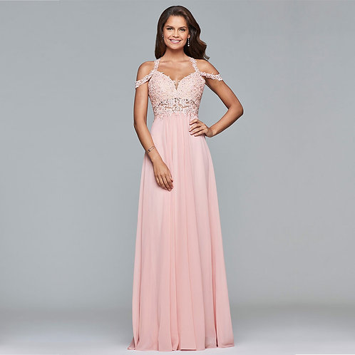 [RENT] Long chiffon cold shoulder dress