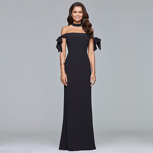 [RENT] Long crepe off-shoulder dress with bow tie arm bands