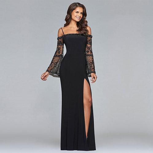 [RENT ]Long jersey dress with beaded bell sleeves