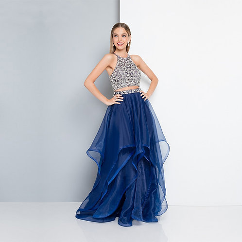 [RENT] High Neckline Beaded Two Piece Prom Dress