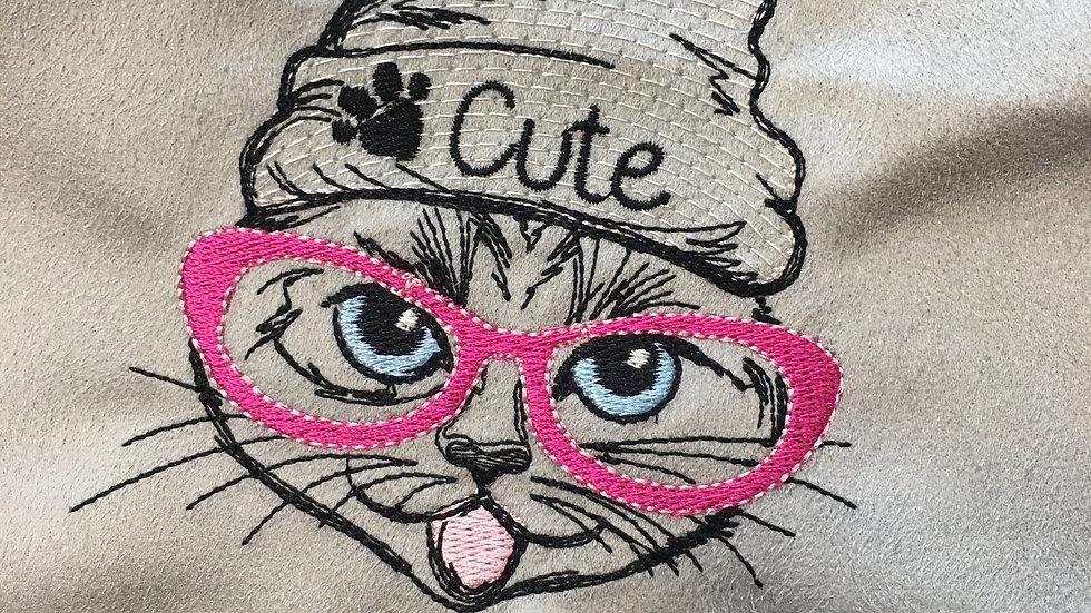 Coupon Brodé Chat à lunettes