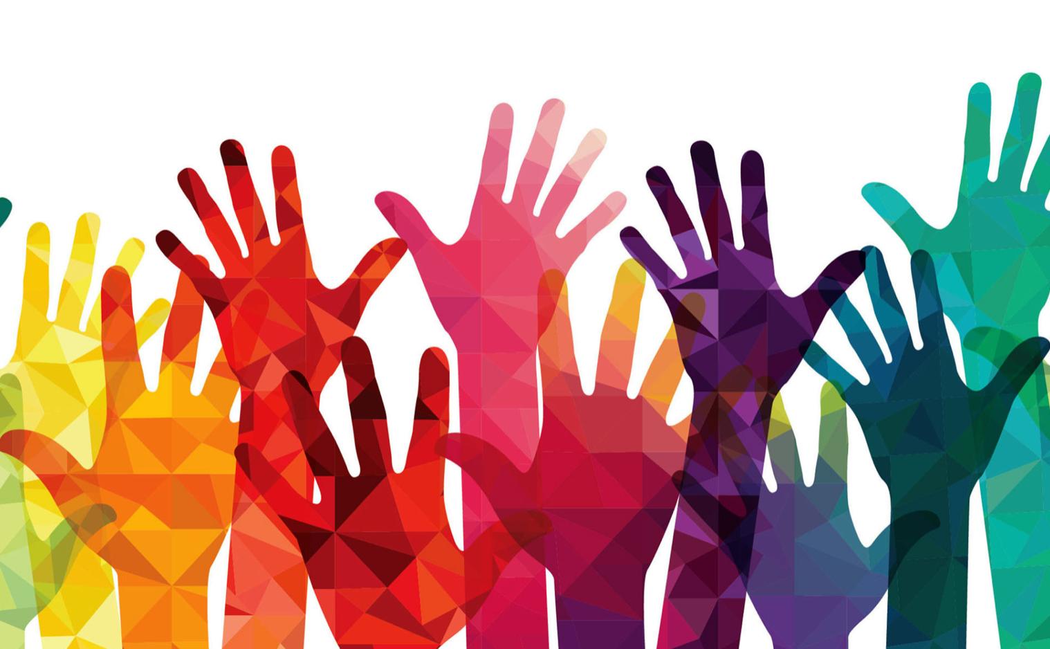 colorful volunteer hands