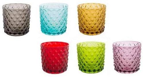 BRANDANI Set 6 Bicchieri Acqua Rombi Vetro Multicolor