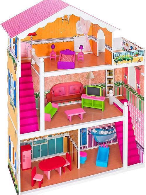 Legnoland Sweet Home Casa delle Bambole, Colore Rosa, C.T. 02544