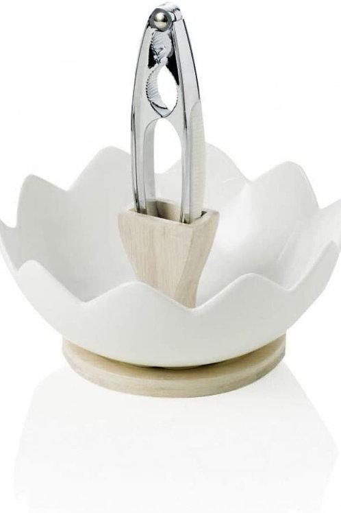 Brandani 54605 Zigozago in porcellana e bambù naturale dado piatto