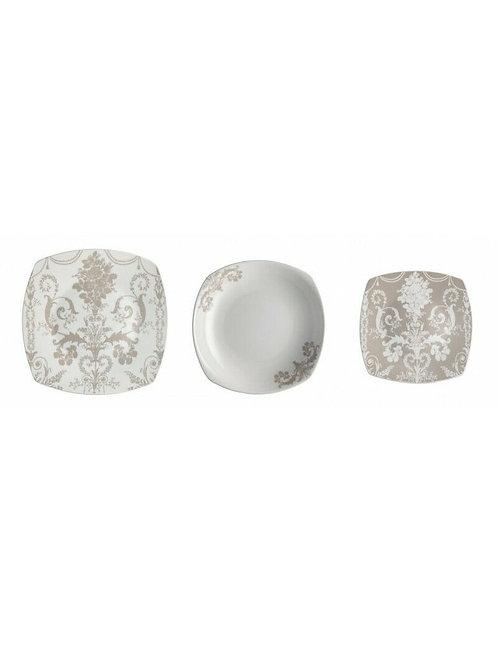 Brandani 53328 Servizio Tavola 18 pezzi Deco Porcellana Quadro 6 Piani 6 Fondi