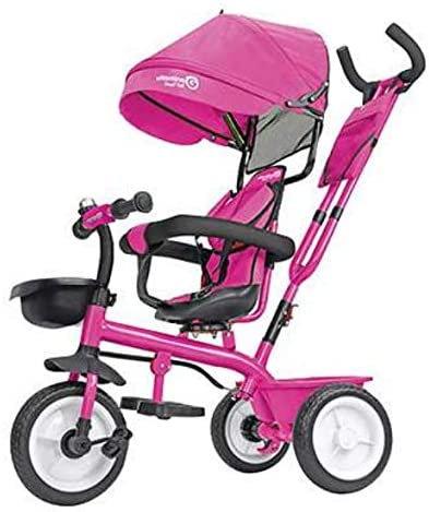 Globo Triciclo in Metallo a Pedali con Parasole Rosa