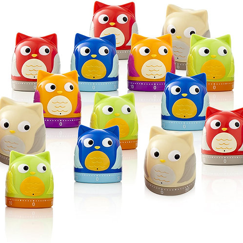 BRANDANI Owl Timer, Colori Assortiti, 20 PC Display in PP, Multicolore