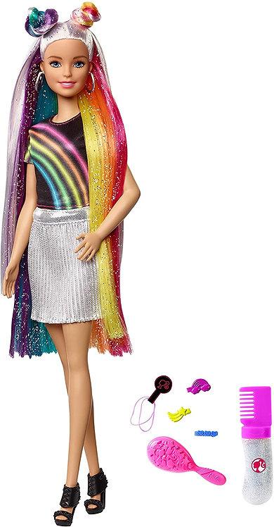 Barbie Bambola con Capelli Lunghi Arcobaleno e Tanti Accessori, Giocattolo