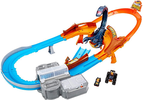 Hot Wheels - PlaySet Pista Ultraveloce Attacco allo Scorpione, con Monster Truck
