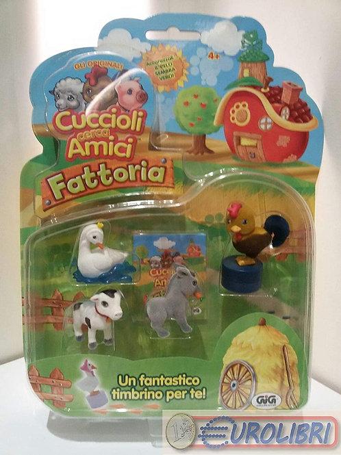 GIG 01302 CUCCIOLI CERCA AMICI FATTORIA 4 PZ CON TIMBR.