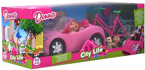 Globo- Fashion Doll W/Cabriolet Car/Bicycle/Dogs (38993), Multicolore (1)