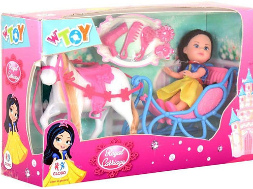 Globo - Doll with Horse/Carriage/Acc. (39112), Multicolore (1)