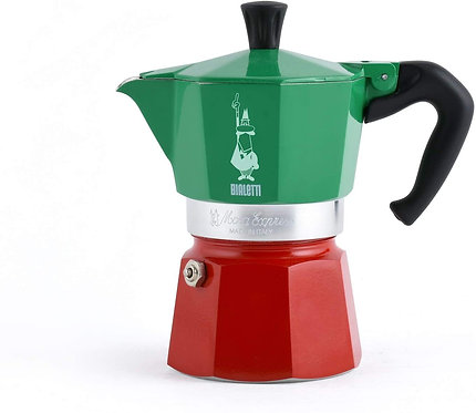 Bialetti Moka Express Italia Collection (Tricolore) Caffettiera, Alluminio, 3 Tz