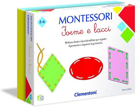 Clementoni- Montessori-Forme e Lacci Gioco, Multicolore, 16102