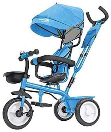 Globo Triciclo in Metallo a Pedali con Parasole Azzurro