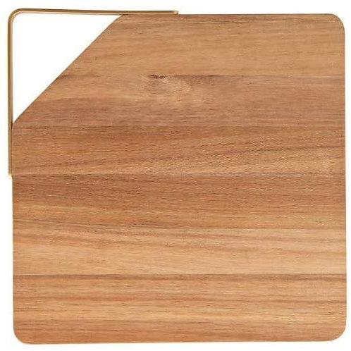 Brandani 53773 Tagliere Acacia C/Manico Oro Metal