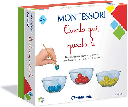 Clementoni-16137-Montessori-Questo Qui, Quello lì, Gioco educativo, Multicolore