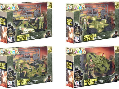 Globo - Playset Military W/Vehicles/Access. 4 Asst (39019), Multicolore (1)