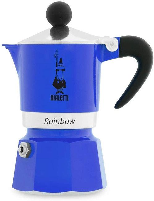 Bialetti Rainbow Caffettiera Colorata, Alluminio, Blu, 1 Tazza