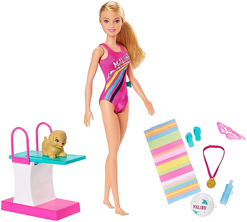 Barbie Dreamhouse Adventures Bambola Nuotatrice in Costume con Trampolino