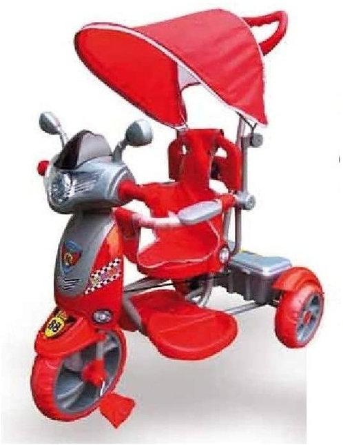 COLIBRI' - TRICICLO MOTO ROSSO NEW RIDER CON MANIGLIONE CAPOTTINA PASSEGGINO