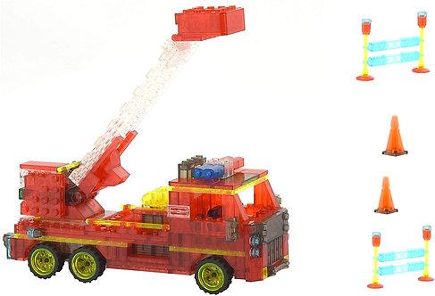 Globo Costruzioni C/Luci Camion Pompieri 337Pz Tras B/O, Multicolore, 8014966383