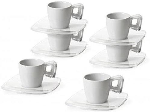 OMADA Set 6 tazzine caffè Square Piattino da 12 cm e Manico Trasparente