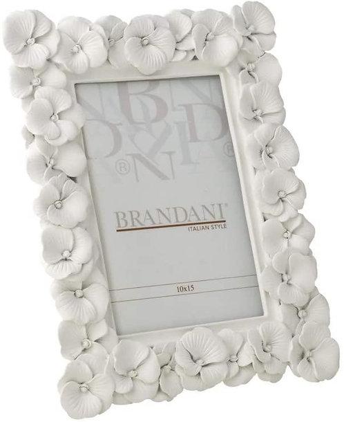 BRANDANI Cornice portafoto Primula Bianco in poliresina Interno 10x15 Art. 53355