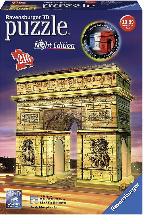 Ravensburger Italy- Arc De Triomphe Arco di Trionfo Puzzle, 3D Building, Night
