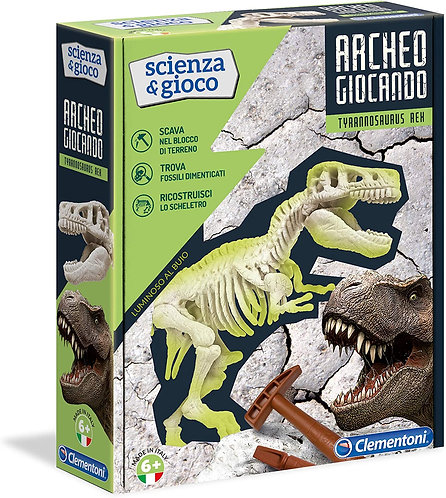 Clementoni- Archeogiocando T-Rex Luminoso al Buio Gioco Scientifico, Multicolore