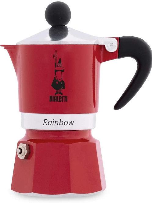 Bialetti Rainbow Caffettiera Colorata, Alluminio, Rossa, 1 Tazza