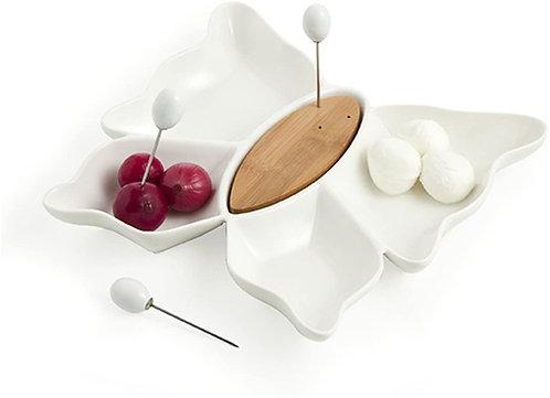 Brandani 55755 Antipastiera Farfalla porcellana bianca con tre forchettine