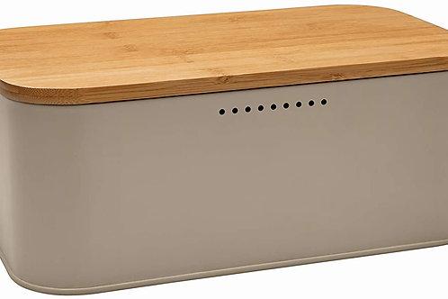 Brandani 53817 Portapane Tortora Metal C/Tagliere Bamboo 30.5X18X12h cm